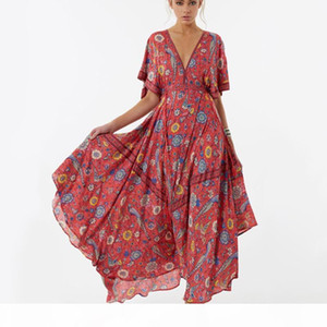 2020 Vestido Long Flower Dress Retro Bohemian Maxi Dress Sexy Ethnic Deep V-neck Floral Print Beach Dresses Boho Hippie Robe