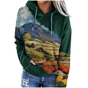 Landscape Printed Women's hoodie Winter Clothes Women harajuku hoodie Casual Long Sleeve hoodies for Women Top sudaderas mujer