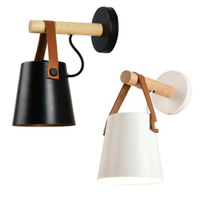 Willlustr iron wall sconce metal leather belt wood wall lamp American country lighting white black color cafe bar bedside light