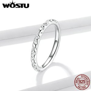 WOSTU NEW 2020 925 Sterling Silver Simple Texture Ring Jewelry Silver 925 Finger Rings for Women Engagement Anel EFR152