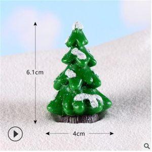 Miniature Christmas Tree Santa Claus Snowmen Terrarium Accessories Gift Box Fairy Garden Figurines Doll House Decor