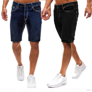 New Mens Pure Color Slim Fit European Size Casual Style Denim Fashionable Knee Length Short Jeans