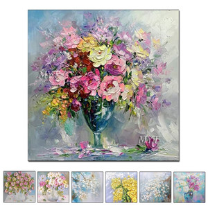 Hand Painted Oil Painting Modern Abstract Oil Painting Reprodcution Knife Flowers Heart Picture Home Decoration Unframed Z1202