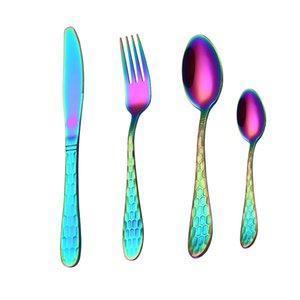 Inoxidável 304 Conjunto Spklifey Steel Cutlery Cutlery Cutelaria Cozinha GWF4878 Western Fork Colher Set Jantar Conjunto de Talheres Gold Tcqns