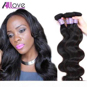 Allove Wholesale Mink Brazilian Body Wave Virgin Hair Wefts 3Pcs Virgin Brazilian Body Wave Hair Bundles Virgin Human Hair Extensions