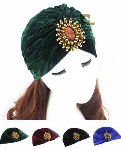 Novas Mulheres Veludo Turbante Padrão Africano Nó Headwrap Beanie Vintage Beads Bonnet Chemo Cap De Perda de Cabelo