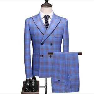 New Popular Blue Groom Tuxedos Slim Fit 3 Pieces Mens Wedding Suits Double Breasted Blazer Formal Men Business Suit (Jacket+Pants +Vest)