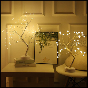 Hot Battery Operated Tree Lamp Decorative LED Lights Tree Night Lights Fairy USB Touch Desk Table Kids Bedroom Warm White Night Bedside Lamp