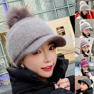 Women Winter Thick Warm Fuzzy Knitted Beanie Cap with Visor Bill Cute Pompom Cold Weather Windproof Skullies Baseball Cap Ear Wa