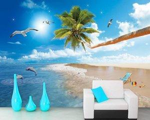 Free Shipping HD Love Sea Beach Mediterranean Hawaii Coco TV Wall 3d Custom Living Room Wallpaper Bedroom Mural Best Price