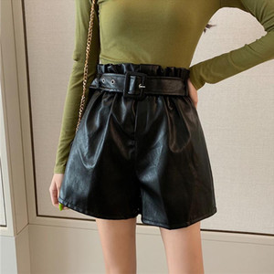 PU Leather High Waist Women Shorts With Belt Black Loose Solid Bud Female Shorts 2020 Spring Autumn Apricot Casual Lady Bottoms
