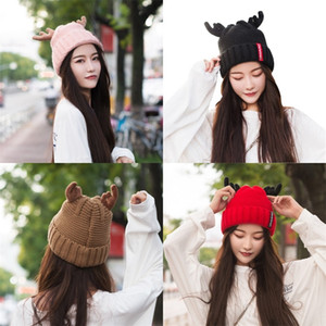 Knitting Christmas Hat Lovely Antler Plush Thickening Woolen Beani Adult Child Kid Hats New Pattern Autumn Winter Outdoor Headgear 13 5zs M2