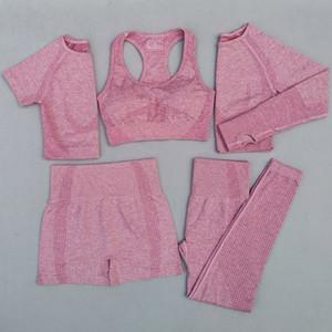5Pcs Women Vital Seamless Yoga Set Workout Sport Wear Gym Clothing Short Long Sleeve Crop Top High Waist Leggings Sports Suit Y200413