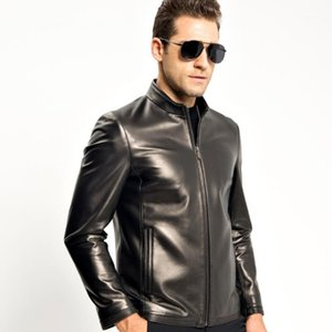 Genuine Leather Jacket Men Short Style Sheepskin Coat Casual Motorcycle Jacket TJ81571