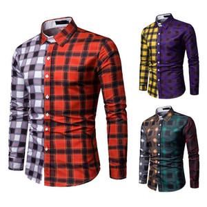 3D erkek iş bahar ve sonbahar kontrast rengi ekose dikiş gömlek
