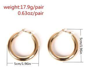 Women 50 Mm Big Gold Hoops Earrings Minimalist Thick Tube Round Circle Rings Earrings For Women Zinc Alloy wmtQvW dh_garden