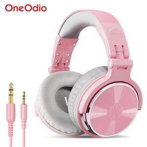 oneodio 핑크 헤드폰 마이크가있는 헤드셋 유선 전문 DJ 스튜디오 스테레오 헤드폰 PC 컴퓨터 여성용 여자 Y1128