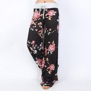 Lossky Womens Solto Calças Floral Imprimir Drawstring 2020 Casual Largura Pants Long Sweatpants Mulheres Verão Plus Size