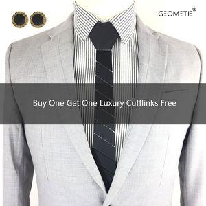 Black Stripe Plaid Acrylic Necktie Slim Fit Men Skinny Fashion Ties Wedding Groom Maid Accessory Birthday Gift Party Formal Suit