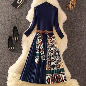 Merchall 2020 de alta calidad Nuevo otoño de manga larga con manga larga elegante vestido de remiendo floral suéter plisado Vestidos MIDI