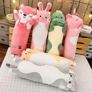 Cartoon Long Animals Plush Toy Squishy Sleeping Friend Stuff Cat Bunny Pig Fox Dinosaur Unicorn Doll Christmas Gift 70 90 120cm 201215