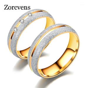 Кластерные кольца Zorcvens Пара Обручальное кольцо для женщин Мужчины Песок взорванный золотой цвет нержавеющей стали CZ Свадебные украшения1