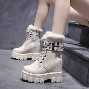 Hot Sale Shoes Women Winter Warm Motorcycle Boots 2020 British Style Platform Sneakers 10CM Heels Thick Bottom Plush Leather Boots Woman