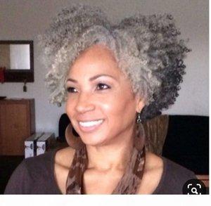 Real Natural Natural Kinky Rizado Mujeres Pelo Topper Silver Gray Afro Human Hair Poty Tail Extension Grey Ponytail Human Hair para mujeres negras