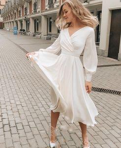 Богемное свадебное платье короткие простые шифон V-образным вырезом до колена дешевые длинные рукава свадебные платья шикарные для женщин пляж 2021