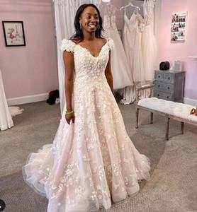 2021 Off Shoulder A Line Lace Wedding Dresses Appliques Sweep Train Tulle Plus Size Bridal Gowns vestidos de novia