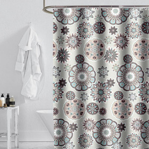 Retro Style Thick Shower Curtain Eco-friendly Waterproof Mildew Polyester Fabric Bath Curtain with Hooks Cortina De Ducha