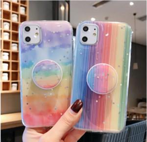 Gradient Rainbow Glitter Epoxy Foldable Bracket Case For iPhone 11 Pro Max XR XS 6 7 8 Plus Huawei P30 Pro Mate 20 Lite 30 Nova 3i 5 5T