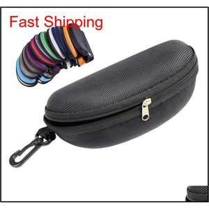 Hot Oxford Cloth Black Glasses Case Sunglass Protection Box Eva Zipper Eyeglass Package Sunglasses Case With Hook Eyewear Accessories Kgkue