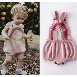 CATHYERY NOUVEAU NEUN NOUVEAU Bébé Baby Filles Tricolore Body Body Body Rainbow Auto Heart-Heart Sangle Jumpsuits Combinaisons Tenues