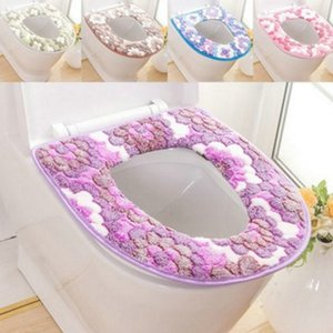 Autumn and winter thick coral fleece toilet mat Washable Warmer Mat Cover Pad Cushion Bathroom Toilet Seat cover Bathroom decoration