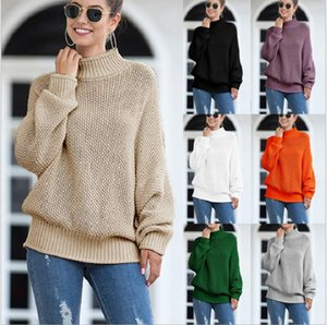 Womens Turtleneck Oversized Sweaters Batwing Long Sleeve Pullover Loose Chunky Knit Jumper Computer Knitted Casual 13 Color Full