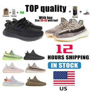 Warehouse in den US 2021 Kanye West Herren Womens Laufschuhe Cinder Zebra Schwanzlicht Reflektierende Frauen Sport Turnschuhe Größe 36-48 mit Hälfte und