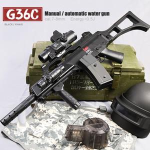 G36C Manual eléctrico Modo dual Pistola de agua para juegos de juegos al aire libre infantil Rifle BB Gun Toys eléctrico 7-8mm Water Bullet Gun Y1118