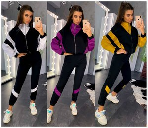 Popular spring and autumn color matching two piece set for women's leisure sports