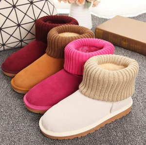 classical Women Snow Boots All New Australian Knitted Wool-like Yarn Knitting Turned-over Suede Leather Winter Warm Ankle Boots US 5-13