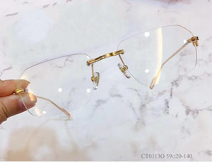 2021 Neue Brillen de Clear Retro 0113 Brille Myopie Brillen Oculos Lense Frame Frauen Männer und Myopie Grau Brille Frames SLXFG