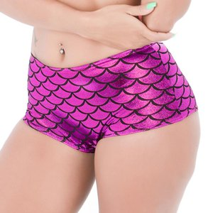 Candy Color Fish Scale Wetlook Pole Dance Micro Mini Shorts Sexy Booty Shorts Night Clubwear PU Leather Hot Short Femme Panties
