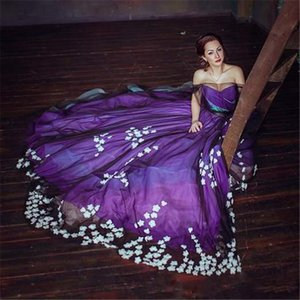 Amazing Purple Evening Dresses 2021 Arabic Aso Ebi Sheer Neck Short Sleeves Prom Gowns Puffy Tulle Handmade Flowers Formal Dress AL7841