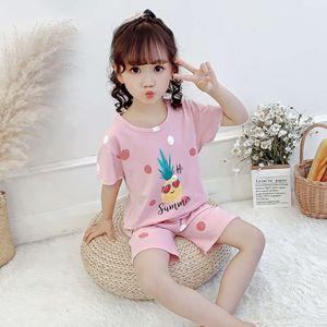 Summer 2020 children's pajamas Korean girls' short sve home wear two piece suit