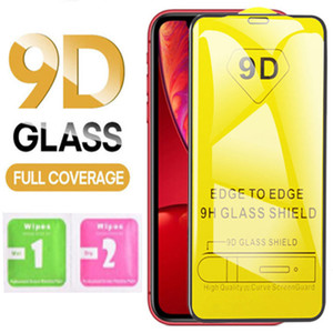 9D tempered glass for iPhone 12 11 Pro Xs Max X 7 8 Samsung 9H Full Cover Glue screen protector
