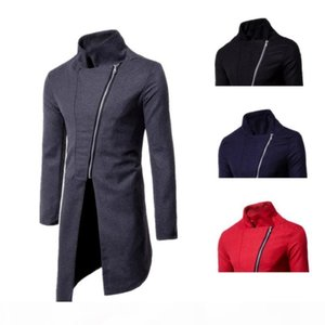 2018 New Men's Fashion Personality Pure Color Self-cultivation Asymmetrical Zip-Wool Coat