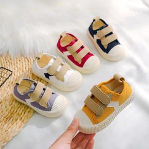 2020 New Kids Shoes Children Boys Flat Heel Canvas Designer Shoes Baby Girl Shoes Patchwork Toddler Sneakers for Children C11273 LJ201027