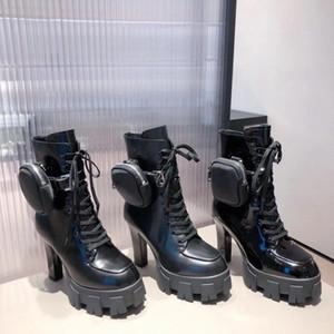 2021 Новый Desiner Женщины Boot Calfskin Martin Сапоги Neylon Combate Боевые Сапоги Дамы Открытый Толстая Нижняя Ботинка Ботинок