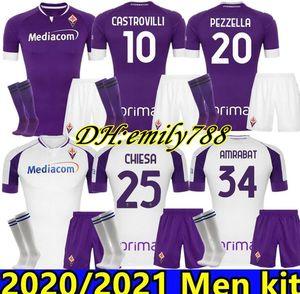 Yetişkin Kiti 20 21 Fiorentina Futbol Formaları Ev Pezzella Chiesa Milenkovic 2020 2021 Ribéry Maglia Lirola Pedro Adam Set Futbol Gömlek