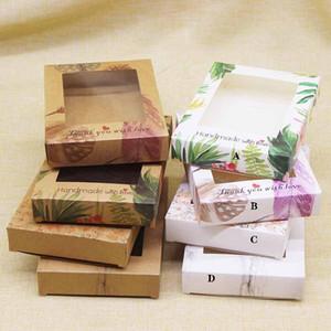 10pc Clear PVC Fenêtre Kraft Carton Cadeau Boîte-cadeau Vintage Boîtes de carte de bonbon à la main pour la décoration de mariage